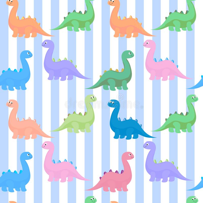 Funny colorful cute dinosaurs vector flat seamless pattern isolated. Funny colorful  dinosaurs vector flat seamless pattern isolated royalty free illustration
