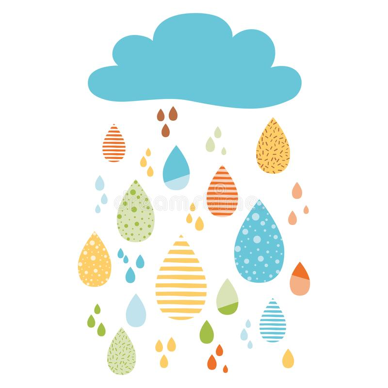 Funny colorful drops of rain clouds. Vector autumn banner Kids fall background. Funny colorful drops of rain clouds Vector autumn nature banner Kids fall vector illustration