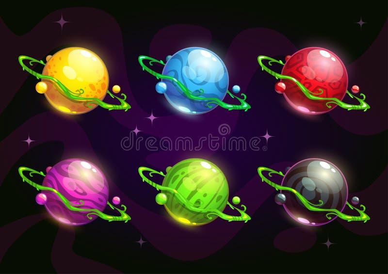 Funny colorful fantasy planets set vector illustration