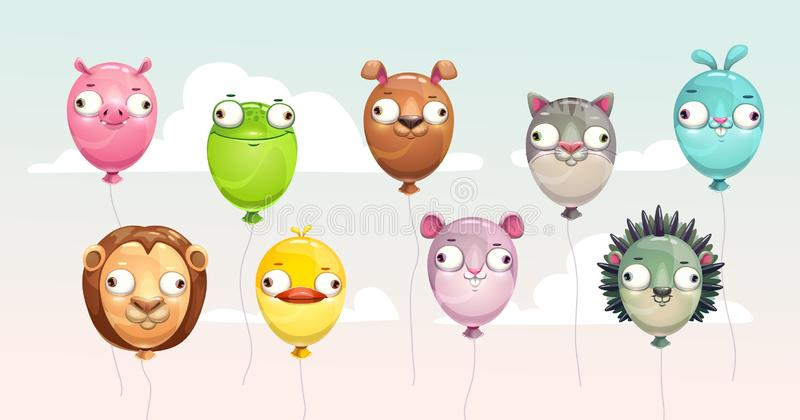 Funny colorful flying balloons with crazy animal faces. royalty free illustration