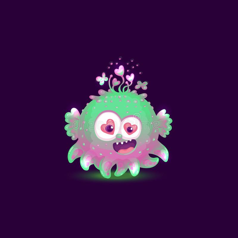 Funny colorful and glowing monster or alien cartoon vector illustration isolated. vector illustration