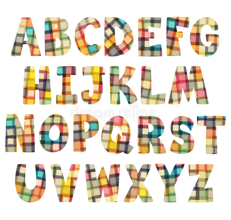 Funny Colorful Mosaic Letters Set Stock Vector