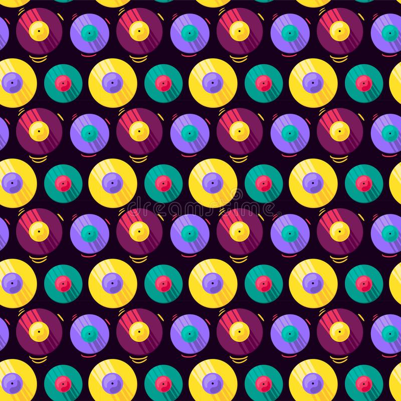 Funny Colorful Musical Vinyl Record Vector Pattern royalty free illustration