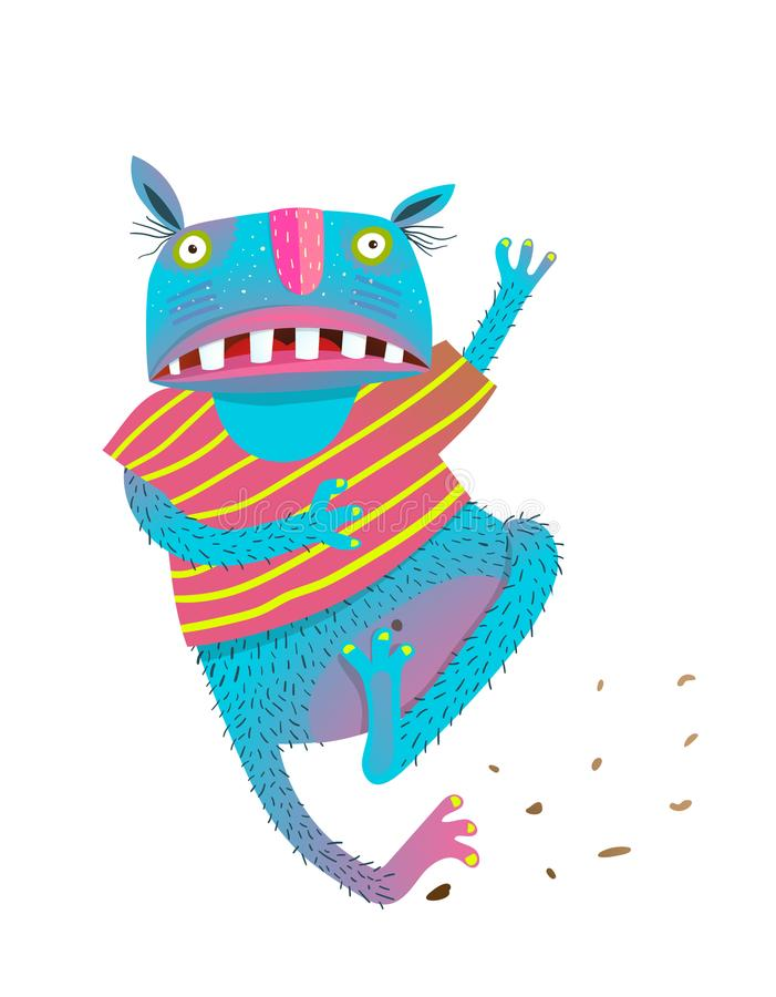 Funny Colorful Running Scared Monster. Hilarious cartoon playful monster for kids running. Vector illustration stock illustration