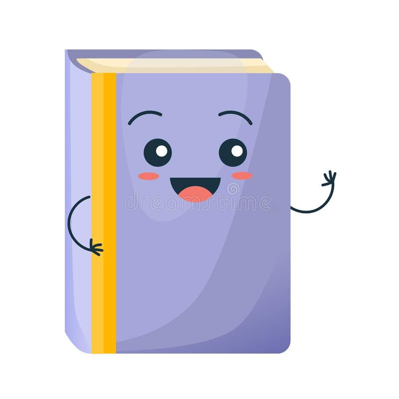 Funny colorful school book smiles, waving. Education, development, school material. Concept of school funny office supplies. Happy school book with face royalty free illustration