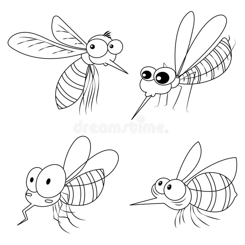 Funny Colorless Mosquitoes. Set of colorless mosquitoes cartoon. Colorless mosquitoes for kid and coloring book royalty free illustration
