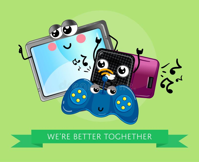 Funny computer gadgets banner in cartoon style. Funny computer gadgets banner with monitor, wireless gamepad and acoustic speaker emotione characters. Electronic royalty free illustration