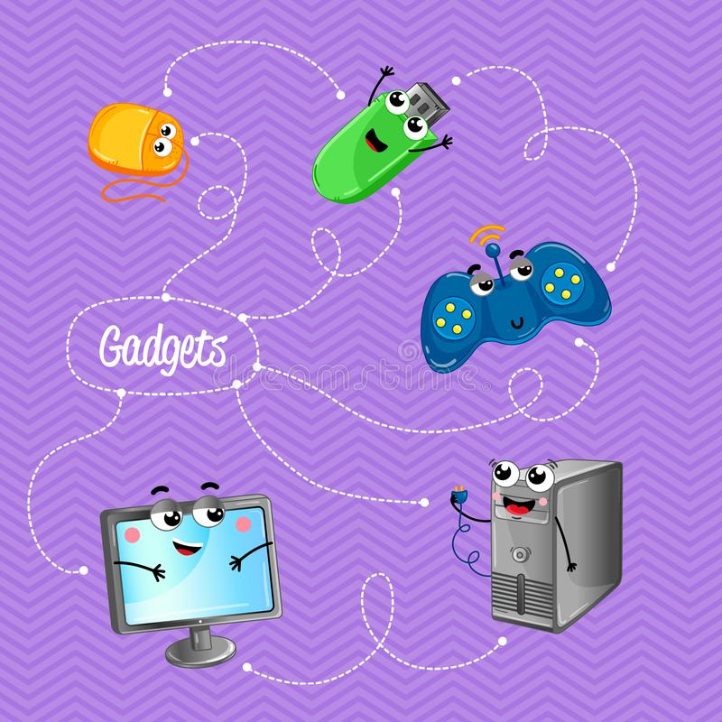 Funny computer gadgets banner in cartoon style. Funny computer gadgets banner with monitor, usb flash drive, computer mouse, wireless gamepad and computer system vector illustration