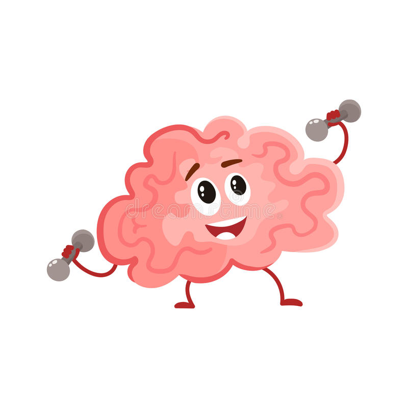 Funny concentration brain training with dumbbells royalty free illustration