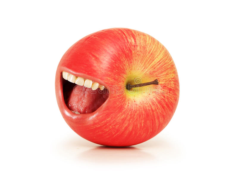Funny Concept With Red Apple And  Mouth Stock Images