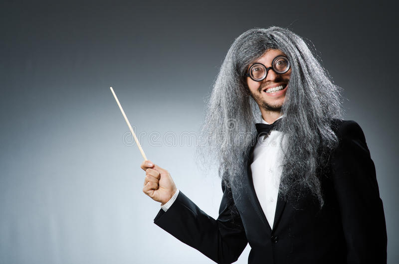 Funny conductor with long royalty free stock photo
