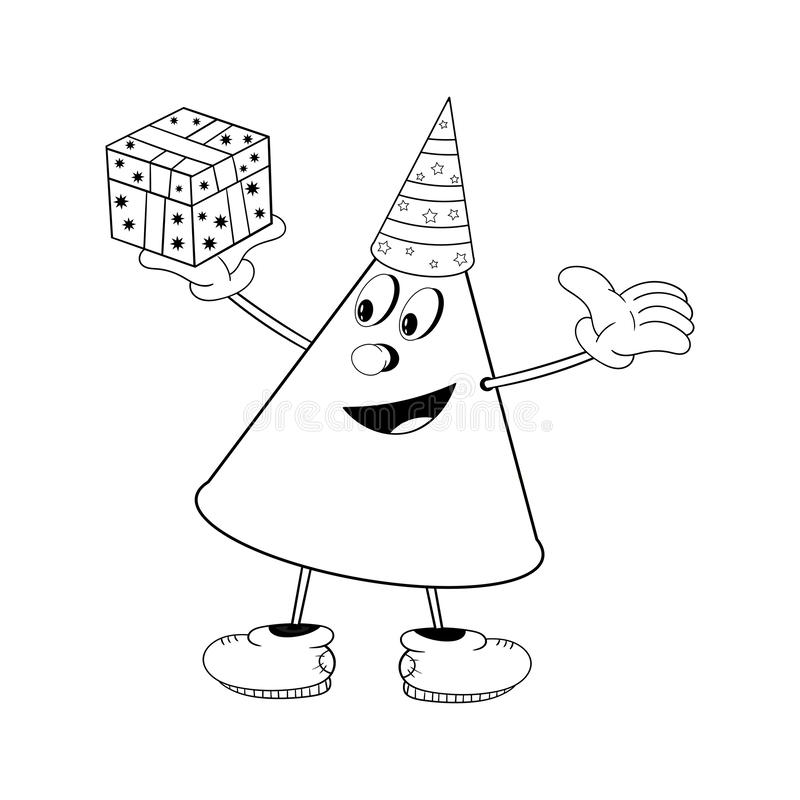 A funny cone in a festive cap holds a gift box in his hand and smiles. Funny coloring in the style of comics.  vector illustration