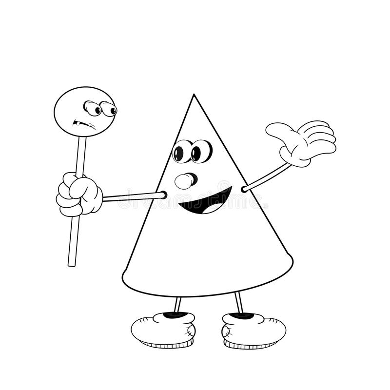 A funny cone holds in his hand a candy on a stick and smiles. Funny coloring in the style of comics.  royalty free illustration