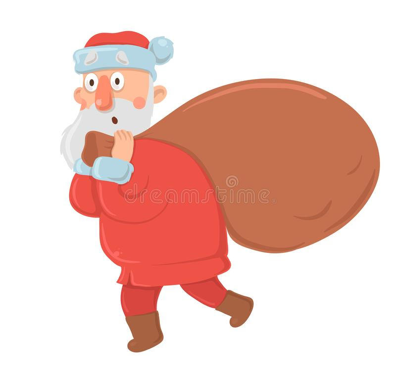 Funny confused Santa Claus with big bag of gifts stares in awe on white background. Santa looks bewildered, embarrassed. Funny bewildered Santa Claus with big vector illustration