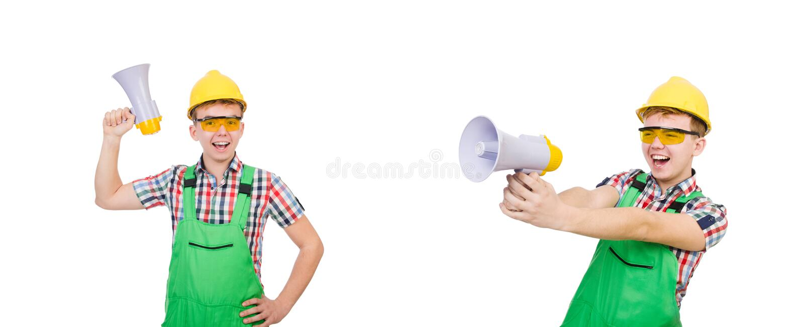 Funny construction worker with loudspeaker on white royalty free stock image