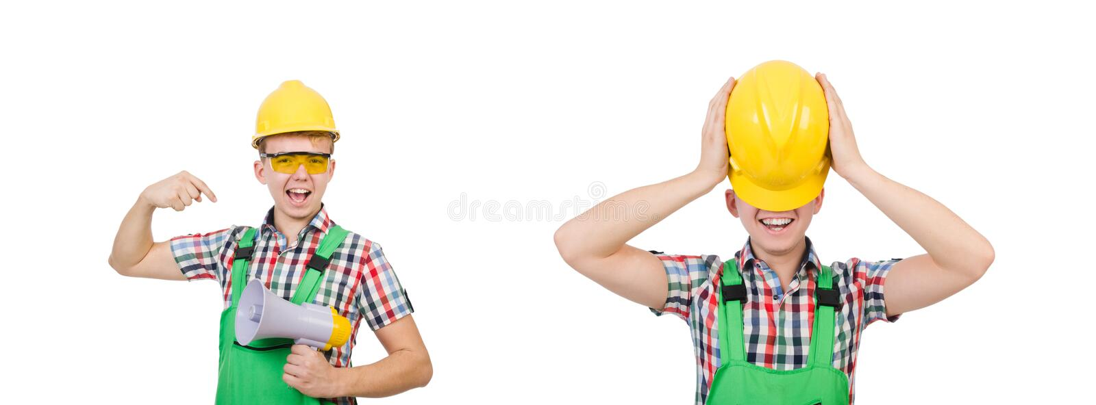 Funny construction worker with loudspeaker on white stock photo