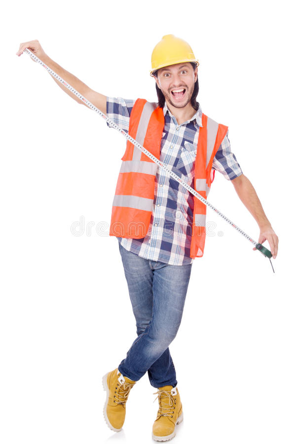 Funny construction worker with tape-line isolated royalty free stock photos