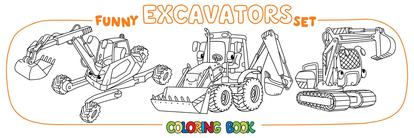 Funny constuction excavator set. Coloring book. Excavator coloring book set for kids. Small funny vector cute cars with eyes and mouth. Children vector royalty free illustration