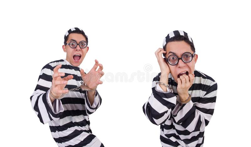 Funny convict isolated on the white stock photo