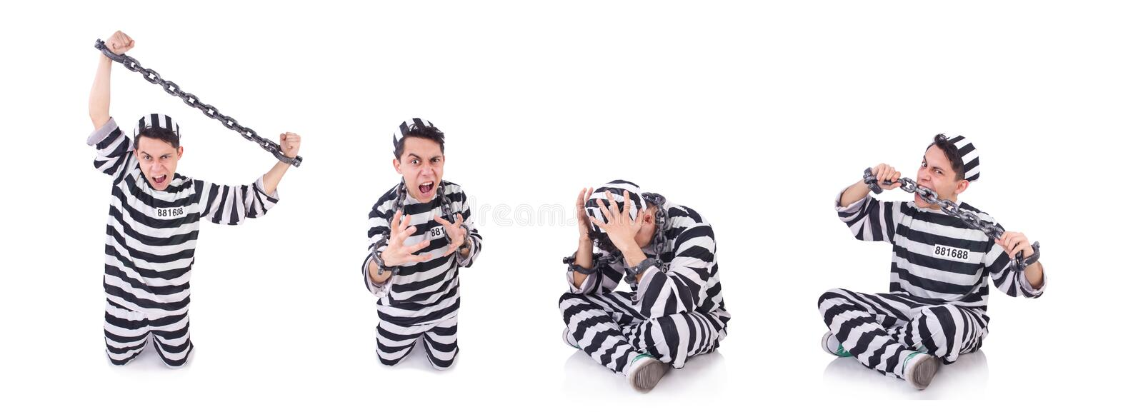 Funny convict isolated on the white. The funny convict isolated on the white royalty free stock photography