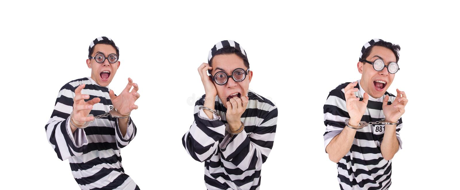 Funny convict isolated on the white. The funny convict isolated on the white royalty free stock photo