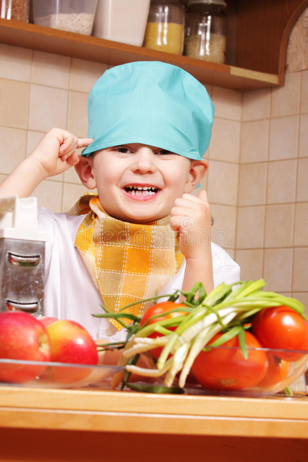 Download Funny cook at kitchen stock image. Image of little, preparation - 12151547