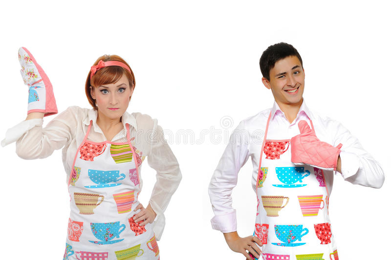 Download Funny Cooking Couple-man In Apron And Chef Woman Stock Image - Image: 17332691
