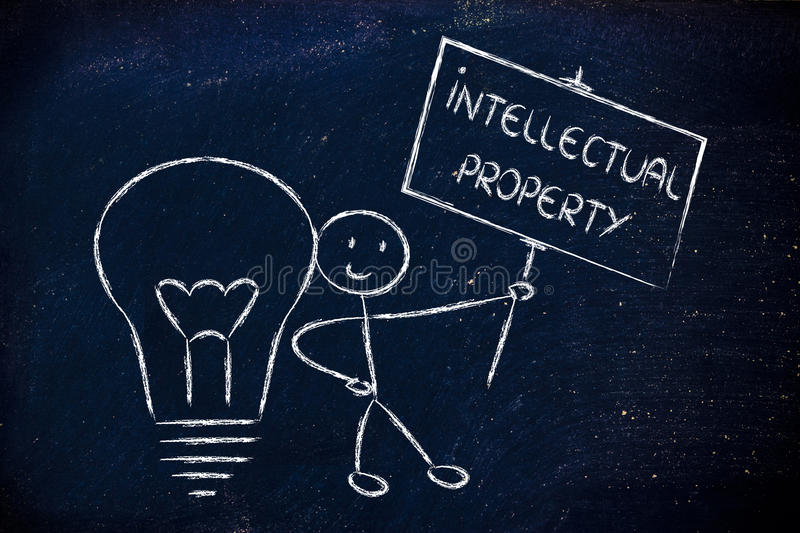 Funny copyright owner man with his idea, concept of intellectual. Intellectual property and copyright ownership: funny character with lightbulb and sign royalty free stock image