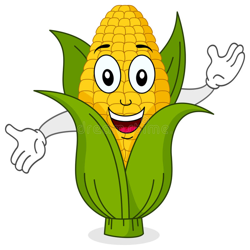 Funny Corn Cob Smiling Character stock illustration
