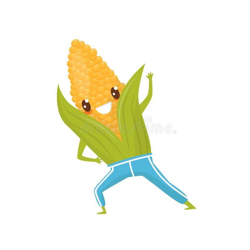 Funny corncob doing sports, sportive vegetable cartoon character vector Illustration on a white background. Funny corncob doing sports, sportive vegetable vector illustration