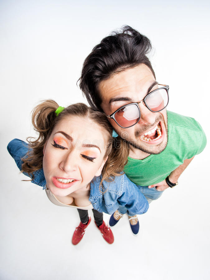 Funny couple arguing - view from above wide angle shot