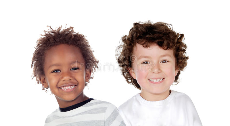 Funny couple of children royalty free stock photography