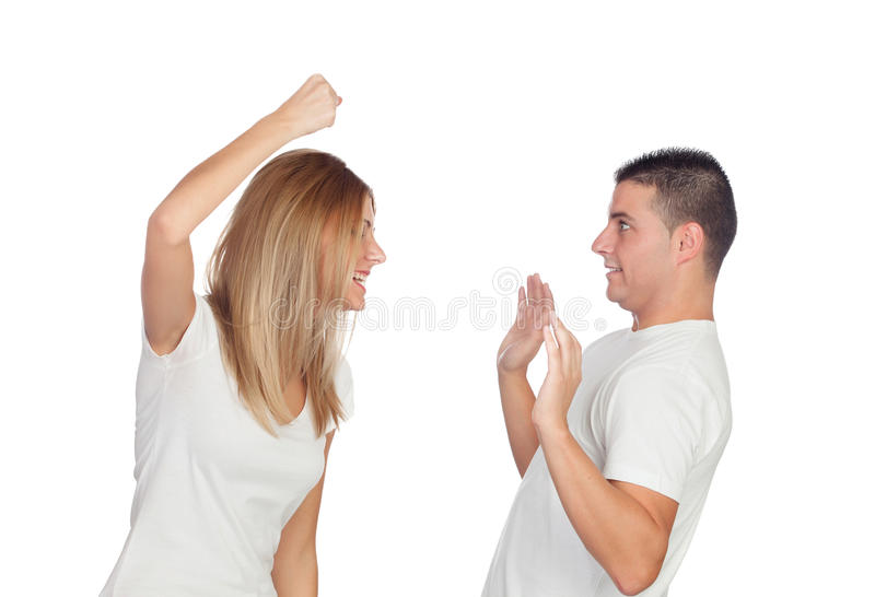 Funny couple simulating a discussion stock image