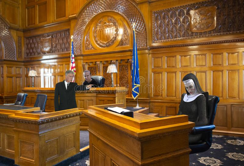 Funny Courtroom, Nun, Judge, Lawyer. Funny courtroom drama. A nun is in the court room witness stand and is guilty or innocent. Her innocence is on trial as the stock photography