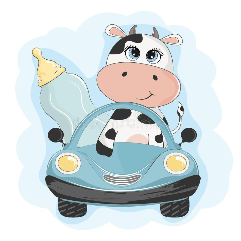 Funny cow with baby bottle with milk go by car. Element for print design, greeting card, poster and t-shirt stock illustration