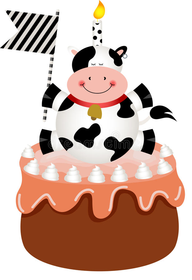 Funny Cow On Birthday Cake Stock Vector Illustration Of Scrapbook