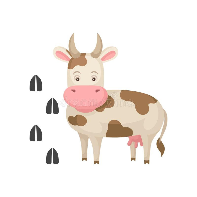Funny cow and her footprints tracks. Big farm animal with horns. Domestic creature. Flat vector element for children. Funny cow and her footprints tracks. Big stock illustration