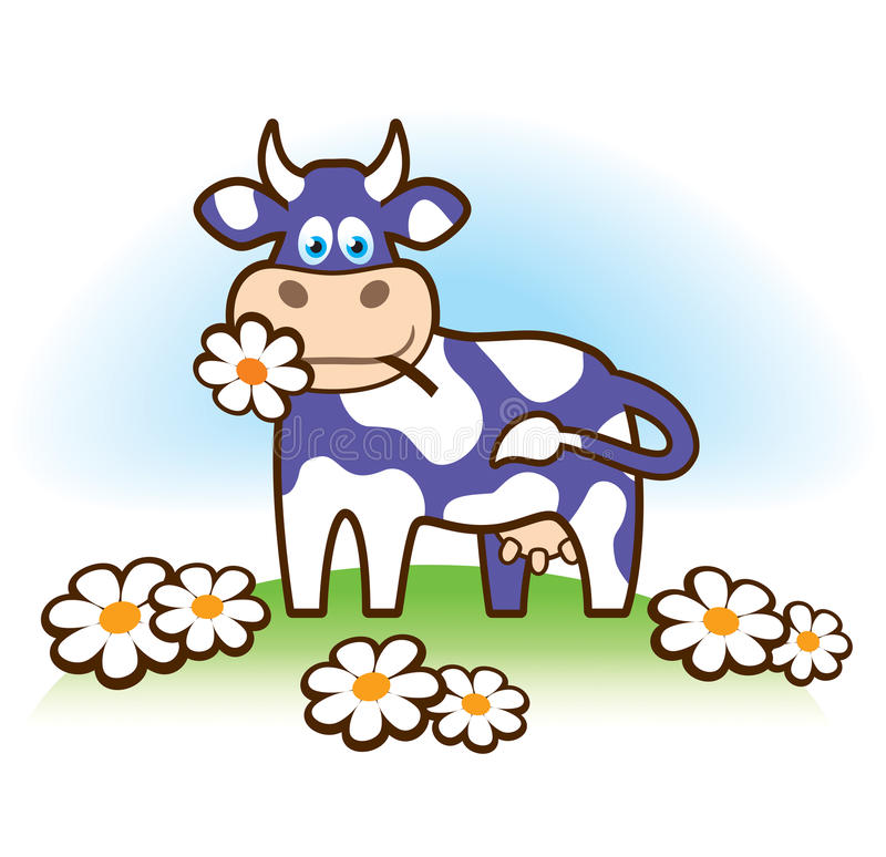 Funny cow in Milka style stock photo