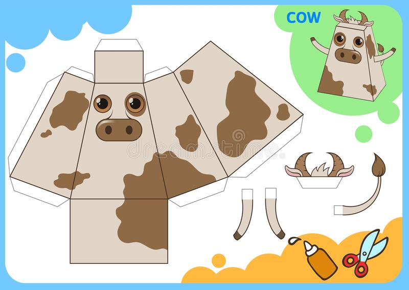 Funny Cow Paper Model. Small home craft project, paper game. Cut out, fold and glue. Cutouts for children. Vector stock illustration