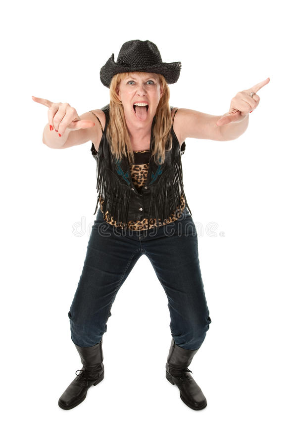 Funny cowgirl stock image
