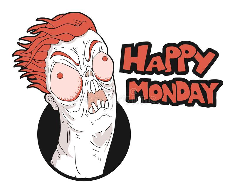 Funny crazy face and monday message vector illustration
