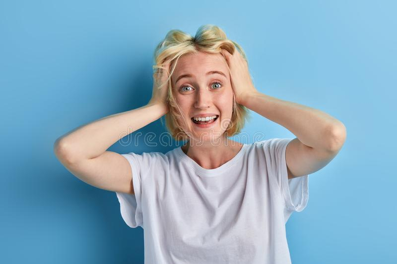 Funny crazy girl is being mad at sales, discounts. Close up portrait, facial expression,emotion, happiness stock image