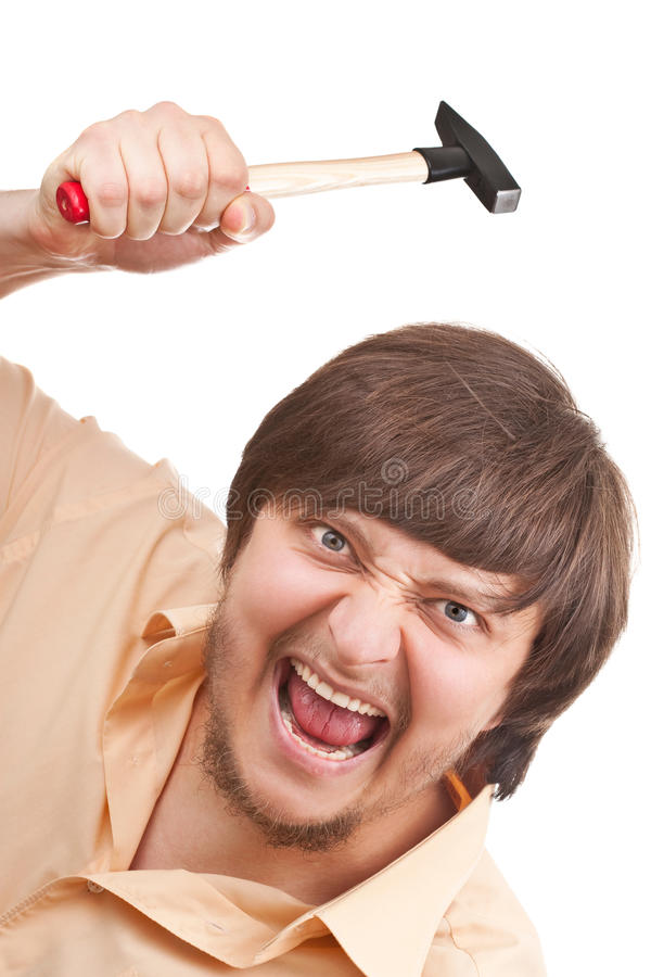 Funny crazy guy with a hammer stock image