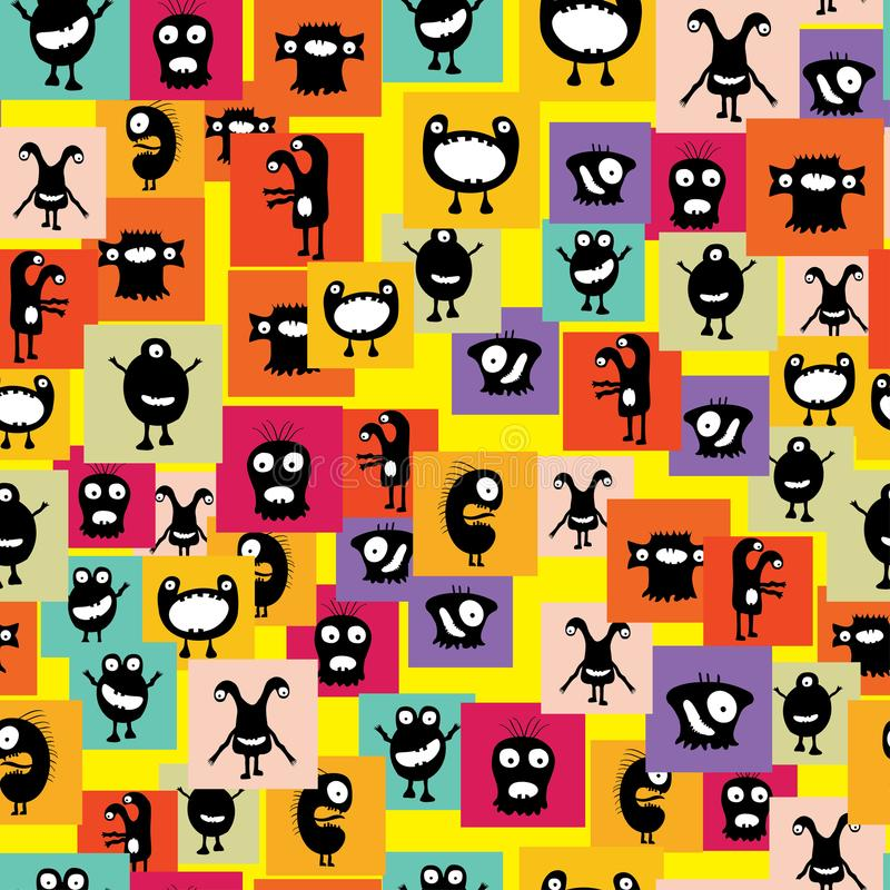 Funny and crazy monsters seamless pattern stock illustration