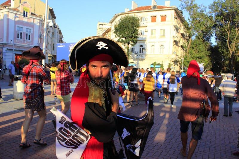 Funny crew members at Crew Parade Varna Bulgaria royalty free stock photos