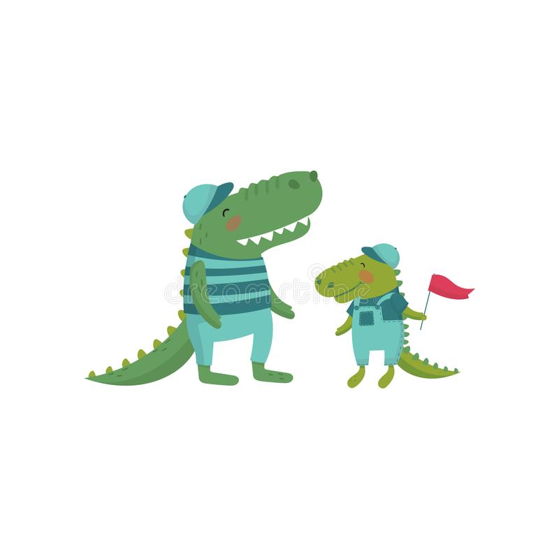 Funny crocodile family. Cartoon wild animals characters dressed in human clothes. Father and child concept. Happy parent stock illustration
