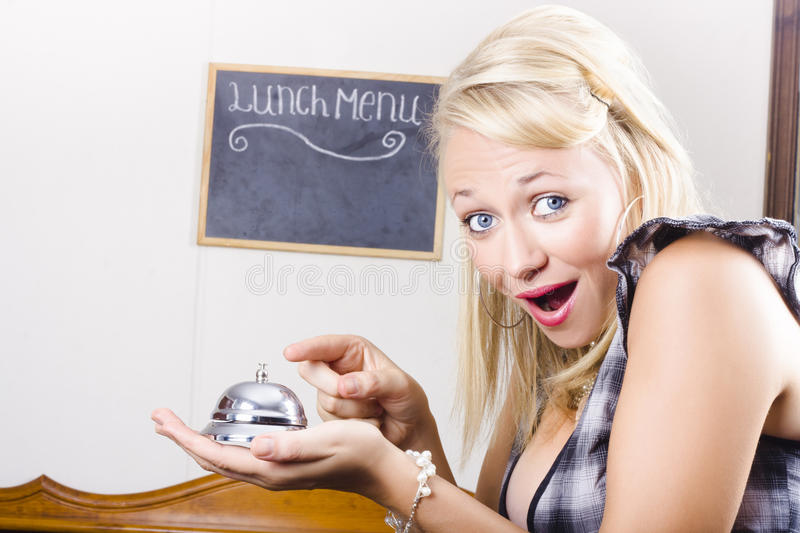 Download Funny Customer Pressing Coffee Shop Service Bell Stock Image - Image: 29523001