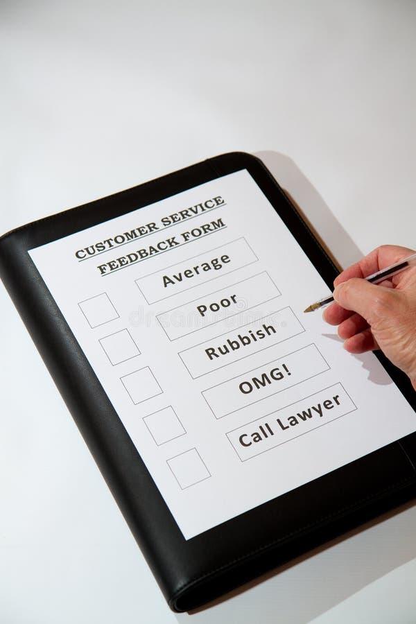 Funny Customer Service Feedback Document. Fun Customer Service Feedback Form with bad options royalty free stock photo