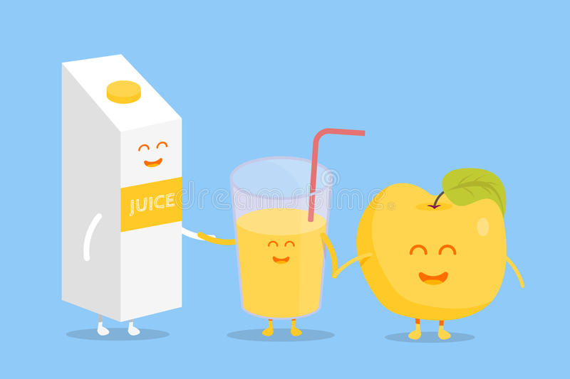 Funny cute apple juice packaging and glass drawn with a smile, eyes and hands. Kids restaurant menu cardboard character. Template for your projects, websites stock illustration