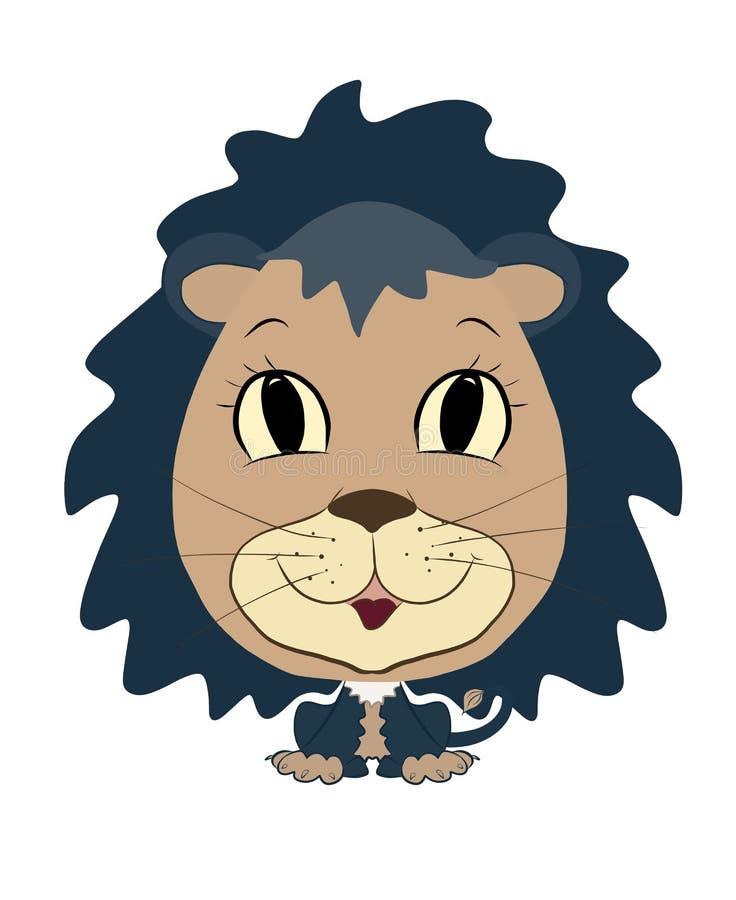 Funny cute baby cartoon small boy lion vector illustration